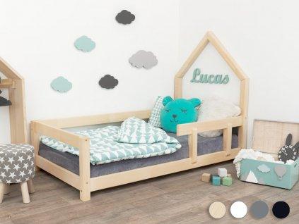 Benlemi Dětská postel domeček Poppi s bočnicí (Barva Tyrkysová, Rozměr 140 x 200 cm, Strana Vlevo)