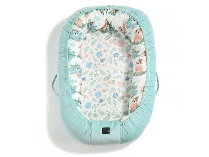 Luxusní hnízdečko pro miminko La Millou Velvet collection Audrey Mint & Yoga Candy Sloths