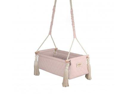 Houpačka:kolébka pro miminka Newborn Swing Babysteps pudrová růžová