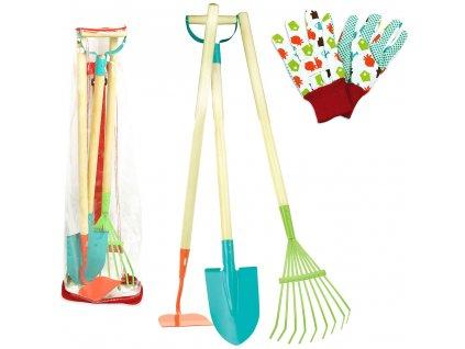 Vilac zahradnický rýč, hrábě, motyka a rukavice pro děti