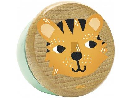 Vilac malovaná dřevěná hrací skříňka tygřík