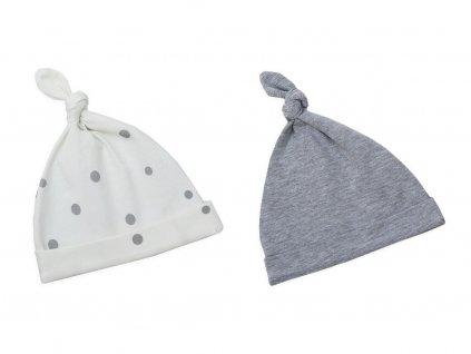 Dětské čepice 2 4 měsíce sada dvou kusů pastelová šedá:šedé tečky 7