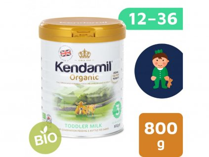 Kendamil 100% BIO:organické plnotučné batolecí mléko 3 (800g) 2