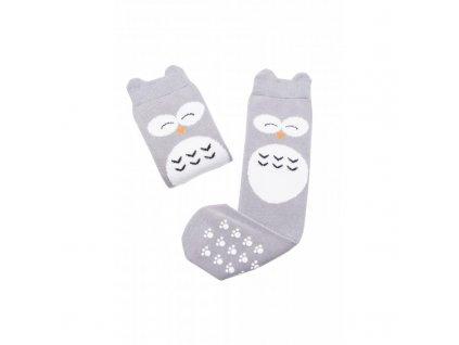 Mama's Feet Dětské podkolenky se sovou Crazy Animals Wise Owl šedé