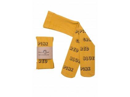 Mama's Feet Dětské jarní punčocháče Print Subtitles žluté
