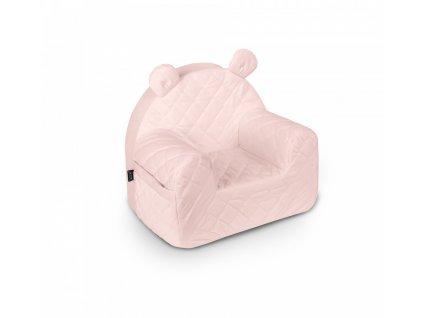 Dětské křeslo Velvet Soft Pink pudrově růžové