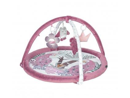 Hrací deka pro miminka s hrazdičkou s pávy fialová Babysteps