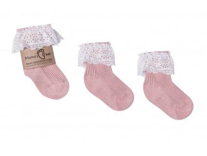 Mama's Feet Dětské ponožky Vintage Love Dirty Pink růžové