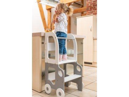 Učící věž 2v1 Car by Toddler in Family šedá/bílá