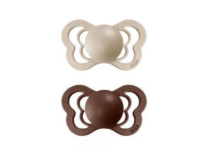 BIBS Couture dudlíky z přírodního kaučuku 2 ks VanillaMocha vanilkovýhnědý