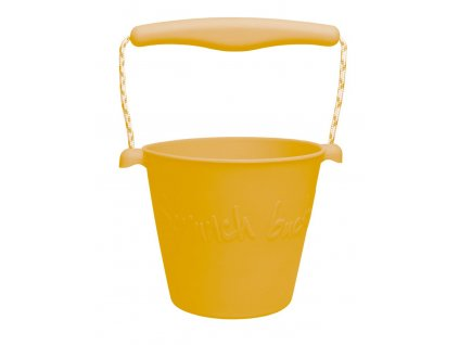 Scrunch Dětský silikonový kbelíček na písek Mustard