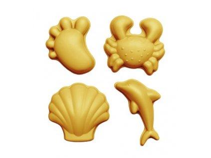 Scrunch Dětské silikonové bábovičky na písek Mustard