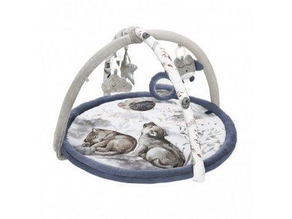 Hrací deka s hrazdičkou noční lvíče modrá Babysteps se šedou