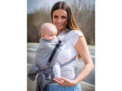 Kinder Hop Rostoucí ergonomické nosítko Half Buckle Little Herringbone Grey 100% bavlna, žakár pratické
