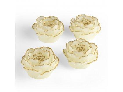 EASYmaxx - LED svíčky - růže se zlatým lemem - sada 4