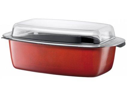 Hranatý pekáč Silit ENERGY RED se skleněnou poklicí 32x21 cm