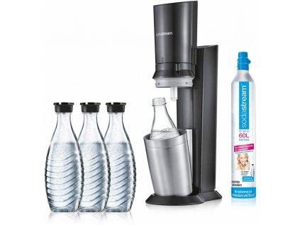 Výrobník sodové vody SodaStream Crystal Black - černý / 3 lahve + 5 vzorků sirupů