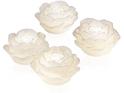 EASYmaxx - LED svíčky - růže se stříbrným lemem - sada 4