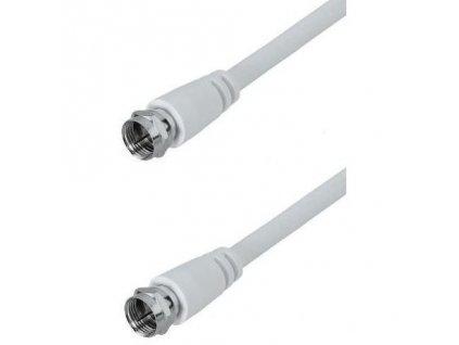 Koaxiální kabel AQ F konektory, 10 m - bílý