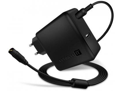 Napájecí adaptér Connect IT NomadPower univerzální pro notebooky / 65 W / + extra USB port / (CNP-1650-BK) / ROZBALENO