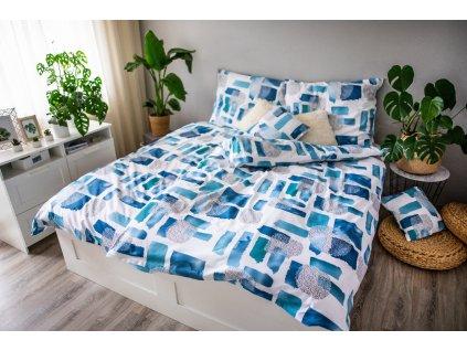 Povlečení 3dílné LP DITA- Abstract blue / 70x90+140x200cm / bavlna + povlak na polštář 40x40cm