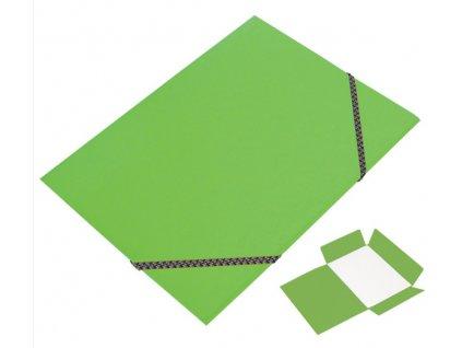 Odkládací mapa CAESAR OFFICE A4 tříklopá s gumou prešpán - světle zelená