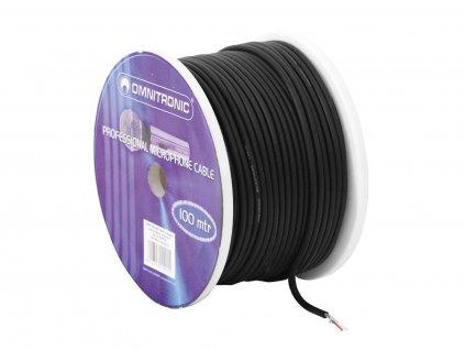 Mikrofonní kabel Omnitronic 2x 0,22 mm stíněný, černý, cívka 100 m, cena/m