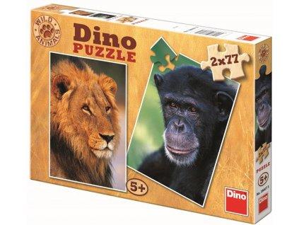 Dino Puzzle šimpanz & lev / 2 x 77 dílků