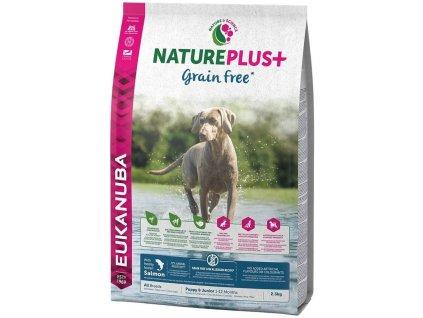 Granule pro štěňata Eukanuba Nature Plus+ s lososovou příchutí / POŠKOZENÝ OBAL