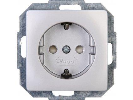 Zásuvková vložka se zvýšenou ochranou kontaktu Kopp Paris / stříbrná