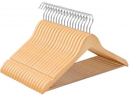 Dřevěná ramínka na oblečení / 50 ks / přírodní javorové dřevo