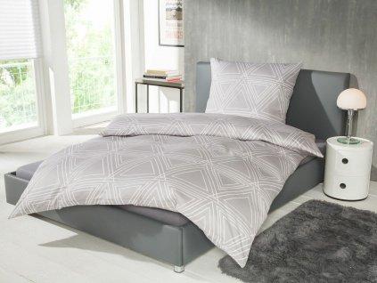 Sada saténového ložního prádla Balette / 135 x 200 cm / 80 x 80 cm / šedá