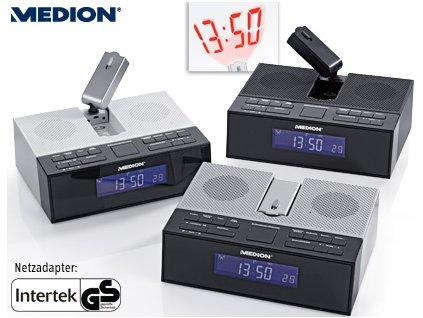 Radiobudík s projekcí času MD 84347 / LED / FM / stříbrný / zánovní