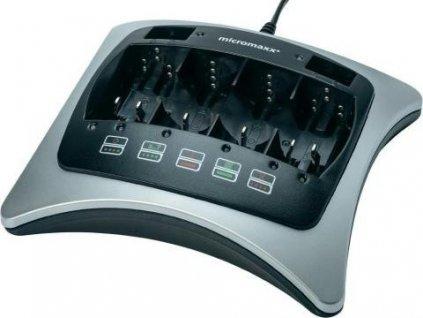 Univerzální nabíječka na baterie MicroMaxx MD 13769 / černo-stříbrná / zánovní