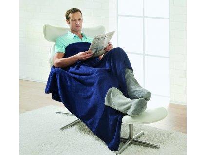Bootsy útulná přikrývka s úschovným prostorem na nohy / 150x200cm / deka / modrá