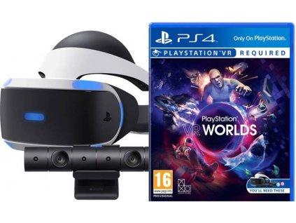 Brýle pro virtuální realitu Sony PlayStation VR + kamera + VR Worlds (PSN voucher) (PS719782612) / ROZBALENO
