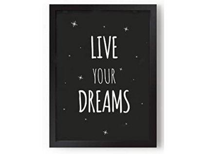 """Bytová dekorace Kenay Home """"Live Your Dreams"""" - černá / ZÁNOVNÍ"""
