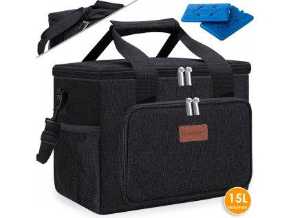 Chladicí box Kesser / piknikový košík / koš na přepravu potravin / 15l / chladicí taška / černý
