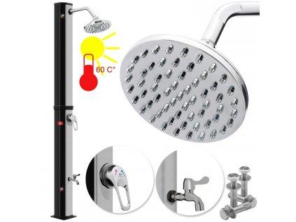 Kesser solární sprcha 20 l / zahradní sprcha / sprchová hlavice / černo - stříbrná