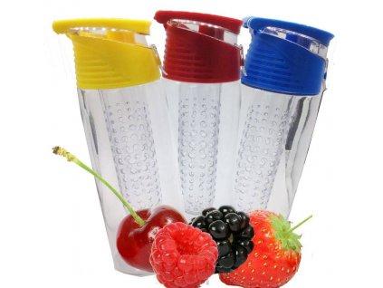 Nápojová láhev se sítkem na ovoce 700 ml / Růžová