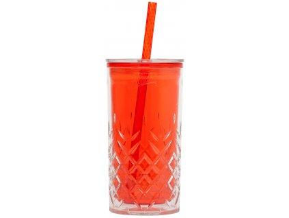 Plastový pohár s brčkem Aladdin 0,47 l - Červený