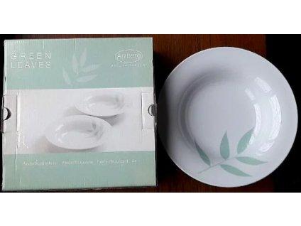 Sada 2 hlubokých talířů Arzberg o průměru 24 cm s potiskem - zelené listy