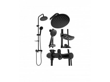 Sprchový set s baterií a výtokem Rea LUIS Černá