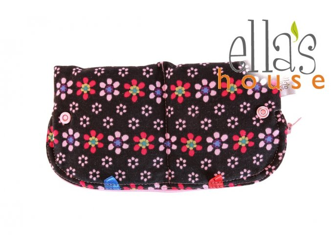 Moon pouch Black Flowers