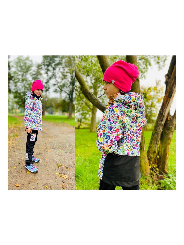 """alt=,,dívčí Softshellová jarní bunda malinová květovaná jarní delšího střihu s kapucí Pardubice"""""""