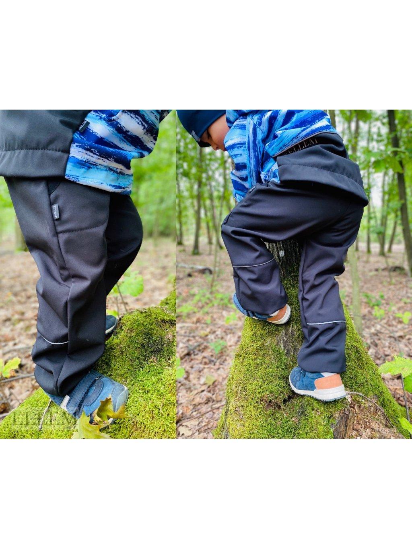 """alt=,,černé Softshellové kalhoty pro děti s nápletem v pase s reflexními prvky  pohodlného širšího střihu regular"""""""