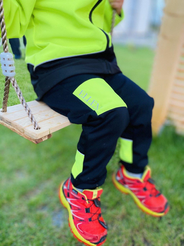 """alt=,,dětské softshellove kalhoty neonově žluté"""""""