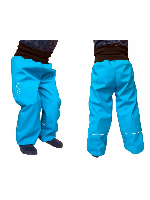"""alt=""""batolecí softshellové kalhoty nebesky modré s vysokým nápletem v pase"""""""
