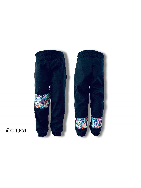 """alt=,,jarní Softshellové cerne kalhoty, dětské kalhoty, kytičky, s nápletem v pase"""""""