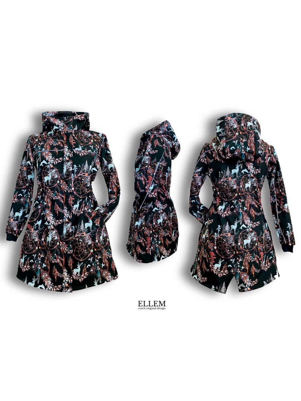 """Alt=""""dívčí softshellový kabát s fleecovým chloupkem černý lapač snů"""""""